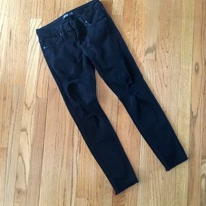 Just black distressed frayed hem skinny jeans